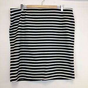 Old Navy Black White Striped Pencil Skirt XL